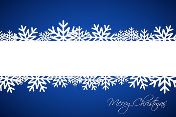 White Christmas snowflake on blue background with space for your wishes, simple holiday card with snowflakes, Merry Christmas