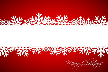White Christmas snowflake on red background with space for your wishes, simple holiday card with snowflakes, Merry Christmas