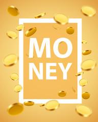 Money design elements. Frame with golden coins. Wealth concept.
