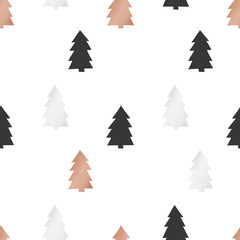 White Christmas and New Year's wrapping paper with Christmas trees of gold and bronze foil. Seamless vector pattern.