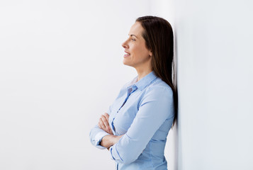 happy smiling middle aged woman at office