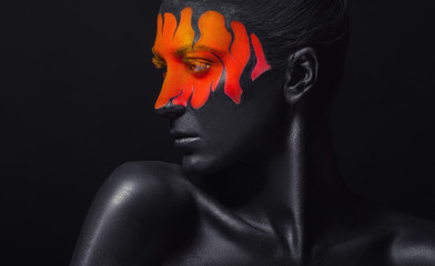 Foto op Aluminium Body Paint Black tongues of flame