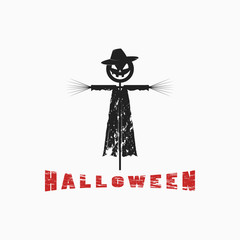 Prin on a T-shirt, a logo in honor of the Halloween holiday. Vector illustration