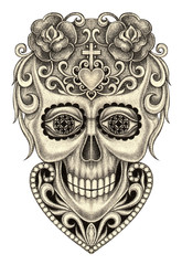 Art design sugar skull day of the dead.Hand pencil drawing on paper.