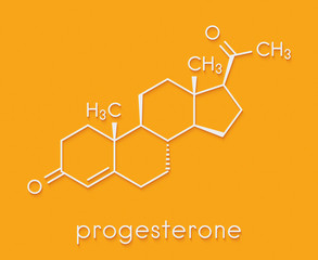 Progesterone female sex hormone molecule. Plays role in menstrual cycle and pregnancy. Skeletal formula.