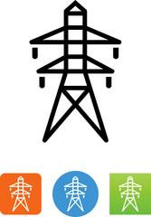 Overhead Power Line Icon - Illustration
