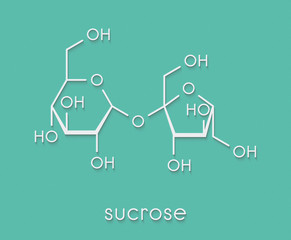 Sucrose sugar molecule. Also known as table sugar, cane sugar or beet sugar. Skeletal formula.