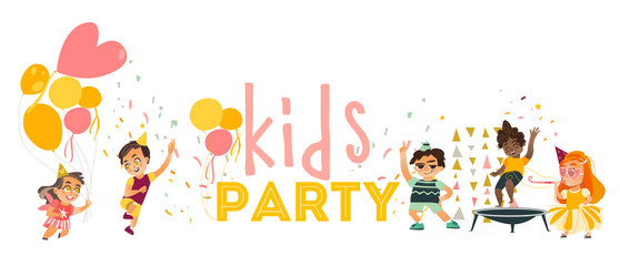 vector flat kids at party set. Funny girls in hat whistling, dancing , running with balloon, boys jumping at trampoline, and dancing . Isolated illustration on white background