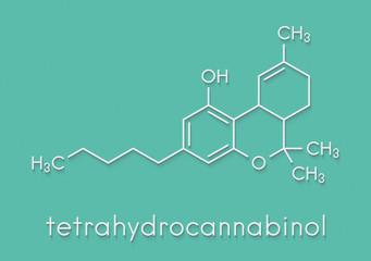 THC (delta-9-tetrahydrocannabinol, dronabinol) cannabis drug molecule. Skeletal formula.