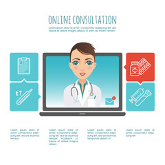Online healthcare diagnosis and medical consultant. Web or mobile application. Vector infographic