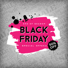 Black friday poster with grunge design elements on the background with sale text pattern