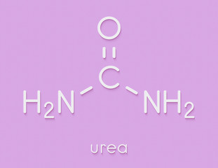 Urea (carbamide) molecule. Used in cosmetics, fertilizer; present in urine. Skeletal formula.
