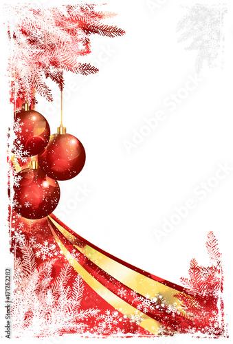 antike Weihnachtskarte mit rotem Weihnachtsschmuck im romantischen ...