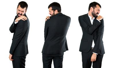 Set of Handsome businessman with shoulder pain