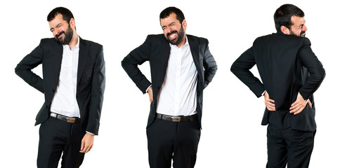 Set of Handsome businessman with back pain