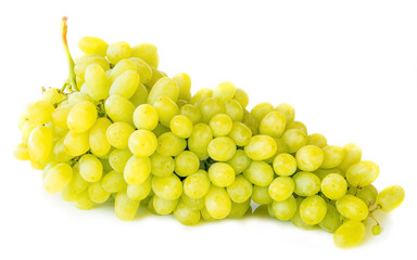 White grape berry bunch isolated on white background