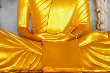 Golden Buddha statue meditation