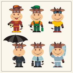 Set funny Bull in different clothing: sportsman, worker, manager, summer, autumn, sleepwear. Collection isolated Bull in clothing in cartoon style.