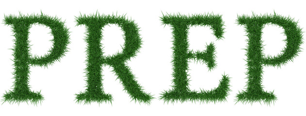 Prep - 3D rendering fresh Grass letters isolated on whhite background.