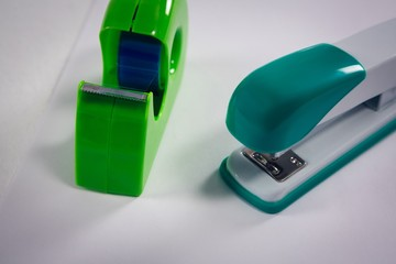 Close-up of stapler and cello tape
