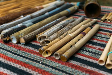 Ethnic woodwind flutes, wooden musical instruments handmade