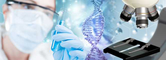 scientist, DNA helix and microscope in blue background