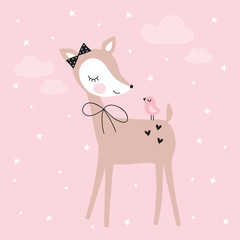 pretty deer with bird vector illustration