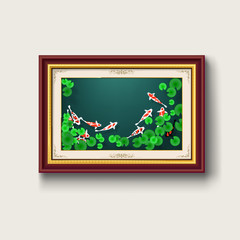 koi fish picture in gold picture frame