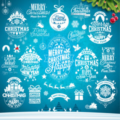 Christmas decoration collection of calligraphic and typographic design with Holiday labels, symbols and icons design elements on blue winter landscape background. Vector illustration set.