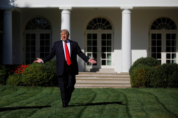 U.S. President Donald Trump talks to members of the press pool at the Rose Garden of the White House in Washington