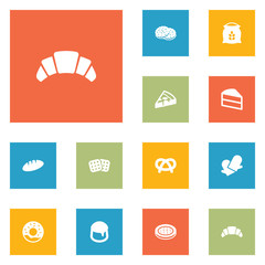 Set Of 12 Cooking Icons Set.Collection Of Doughnut, Snack, Wafer And Other Elements.