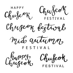 Vector set of isolated calligraphy lettering for Mid Autumn Festival Chuseok for decoration and covering on the white background. Concept of Happy Autumn.