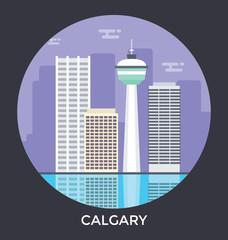 Calgary, Alberta, Canada Vector Icon