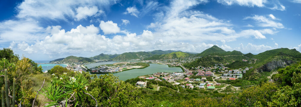 Panoramic view of the port of Phillipsburg Sint Maarten from a bird's eye view.