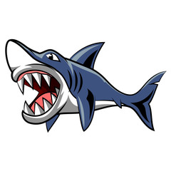 Angry shark mascot. Vector Illustration