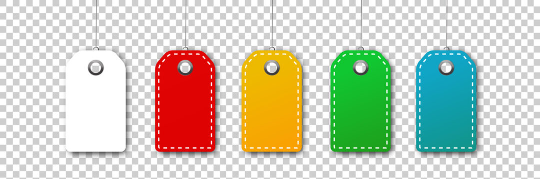 Vector set of realistic isolated colorful blank price tag coupons for decoration and covering on the transparent background. Concept of discount and sale.
