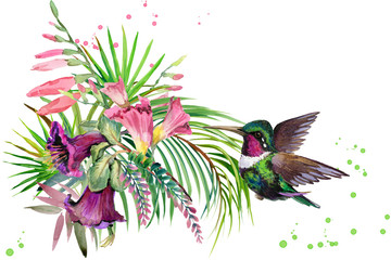 beautiful tropical nature. exotic floral paradise background. jungle plant, bird and flowers. Hummingbird. rain forest watercolor illustration.