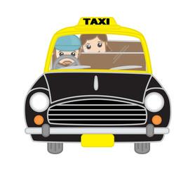 Cartoon Girl Sitting Inside the Taxi