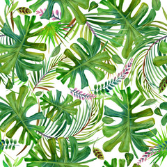 beautiful tropical nature seamless pattern. exotic floral paradise background. jungle plant and flowers. rain forest watercolor illustration.