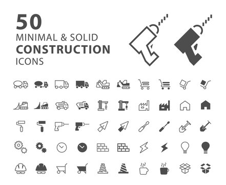 Set of 50 Construction Minimal and Solid Icons on White Background . Vector Isolated Elements