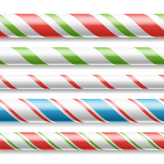 Xmas Candy Cane Vector. Horizontal Seamless Pattern Isolated On White. Good For Christmas Banner And New Year Design. Realistic Illustration
