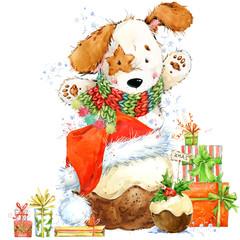 cute cartoon puppy watercolor illustration. Christmas card. Dog year.