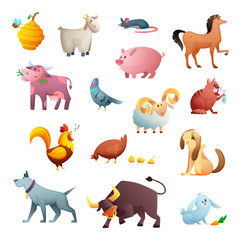 Cartoon character design of farm animals. Cute pets. Isolated vector illustration on white background.