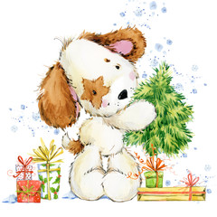 cute cartoon puppy watercolor illustration. Christmas card. Dog year.