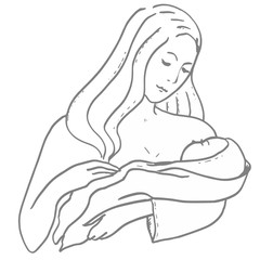 Motherhood, childhood. Young woman with newborn on her hands. Mom hug child.  Happy family. Beautiful family sketch for design, advertising, emblem, prints, posters, banners. Cartoon characters. Hugs.