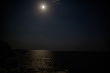 Moon light over the sea and night time