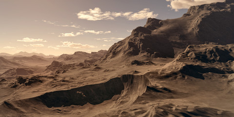 Extremely detailed and realistic high resolution 3d illustration of an environment on an earth like exoplanet.