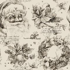 Christmas Santa Clause seamless pattern. New Year retro background.