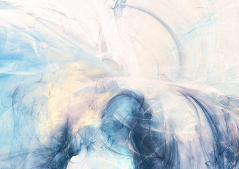 Abstract beautiful blue and white soft color background. Dynamic smoke painting texture. Modern artistic futuristic pattern. Fractal artwork for creative graphic design