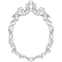 Vintage oval graphical frame in antique style. Vector.